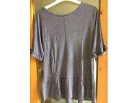 Blue marl t-shirt with peplum hem (size 12)