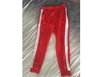 Red with white strip trousers