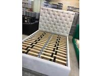 Kingsize white velvet storage bed