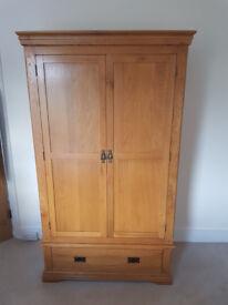 Rustic Solid Oak Double Wardrobe - Excellent Condition