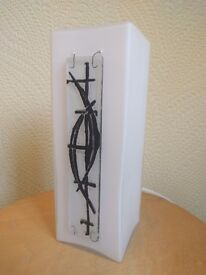 Contemporary White & Black Glass Table Lamp