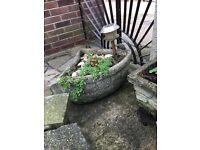 Vintage planters stone / converter bird bath