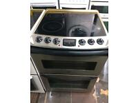 Stainless steel zanussi 60cm ceramic hub electric cooker grill & fan oven good condition with gu