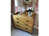 Antique pine chest of drawers. W100cm x H102cm (to highest point at the back) x D52cm