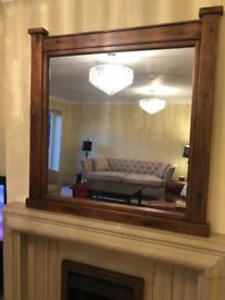 Solid pine large square mirror. Perfect for mantelpiece.