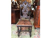 Antique Oak Throne Chair Barley Twist Heavily Carved Hall Chair Jacobean - See Delivery