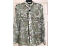 Ladies River Island sheer camouflage print blouse size 12.