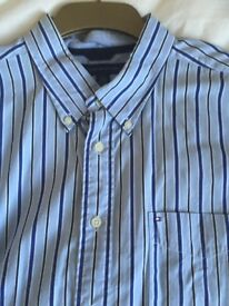 MENS XL Tommy Hilfiger blue long sleeved striped shirt in mint condition