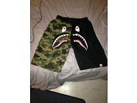 Bathing Ape Bape SHARK army camo print shorts