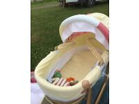 MAMAS AND PAPAS GINGER BREAD MAN NURSERY BUNDLE INC MOSES BASKET AND STAND ,ACTIVITY PLAYNEST + MORE