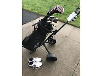 Golf clubs,trolley and size 9 adidas shoes