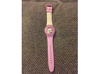 SWATCH WATCH - PINK & CREAM LAQUARED SKELETON DIAL