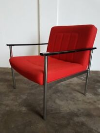 RETRO RED FABRIC ARMCHAIR VINTAGE CHROME LEGS CHAIR DELIVERY AVAILABLE
