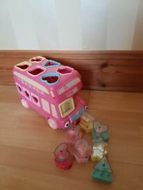 Early learning centre elc pink bus shape sorter