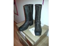 Mens New Brown Leather Gringos Cowboy Western Biker Harness Boots UK 10 EU 44