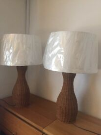 X2 Large wicker Table Lamps