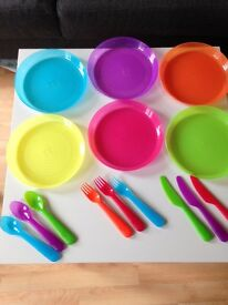 Children's plastic plates and cutlery. Bulk buy 54 of each piece.