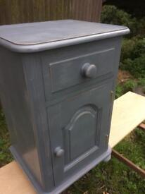Shabby chic pine bedside table, rainy day chalk paint