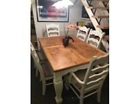 Shabby Chic white and wood dinning table and 6 chairs