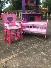 Doll's cot and high chair - wooden, painted pink