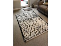 Berber style rug black and off white