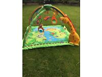 Jungle play may with dangling toys and music. Perfect condition