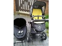 Icandy apple pushchair with carrier, adapters, yellowtag, raincover, and other wheels