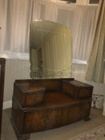 Vintage dressing table, stool and mirror