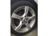 Set of 4 original BMW Alloys with 4 run flat tires