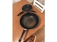Frying pans - one wok, one medium frying pan