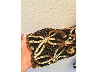 Vintage Stenay Black Gold Embellished Silk Sequin Blazer Jacket Size UK 10 Small