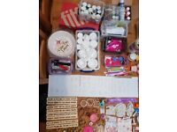 Large amount of cake decorating equipment including Cassie Brown Airbrush & Compressor kit.