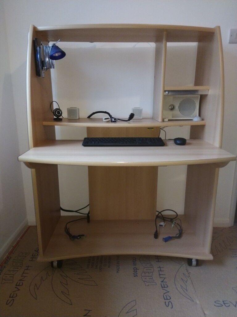 Computer desk on castors with keyboard, mouse, webcam, KVM switch and sound  system | in Horsham, West Sussex | Gumtree