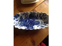 Blue & white floral ridged tray