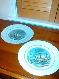 "Vintage 80's Crown Bavaria""winter scene"" porcelain. 2 display plates"