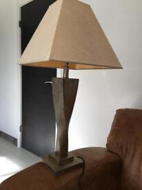 Lampshades & bases pewter/silver x2 tall lounge bedside table lamps
