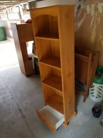 Wooden pine bookcade with single draw