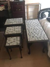Completely refurbished mosaic coffee table set