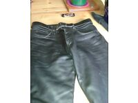 Mens leather biker trousers