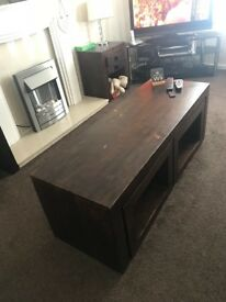 Beautiful solid wood (rosewood) large coffee table with two matching side tables