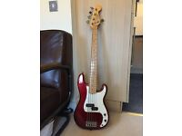 Fender American Precision Bass 5 String - Candy Apple Red/ Maple FB with Gig Bag - Great Condition