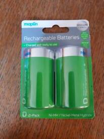 Rechargeable D batteries 2-Pack