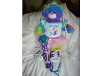 Build a Bear Sings Let it go. Dressed Frozen T shirt/pink net skirt + Shoes and Microphone wand.