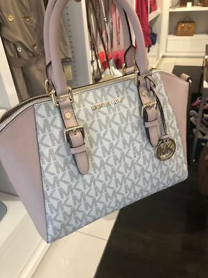 NWT Michael Kors Ciara Large Top Zip Satchel Vanilla Signature MK Ballet Pink