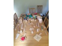 Wooden train set - over 120 pieces