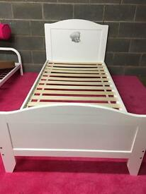 Tatty teddy single white wooden bed frame