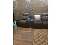 Electric DFS leather sofa plus armchar