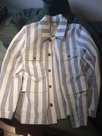 A Kind Of Guise men's white blue striped jacket
