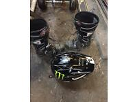Motorcross boots and helmet large