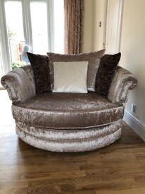 Crushed velvet twin swivel chair